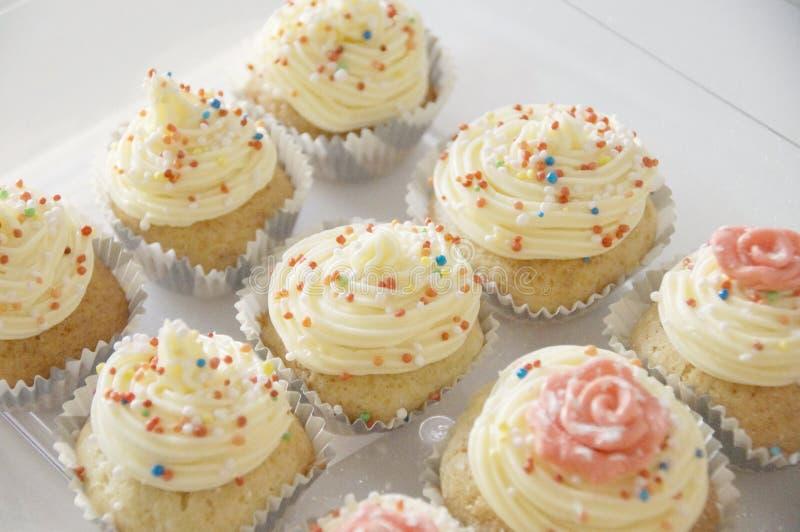 Dienblad met cupcakes stock fotografie