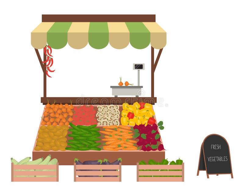 Dienblad met groenten op de markt royalty-vrije illustratie