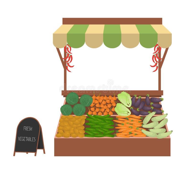 Dienblad met groenten op de markt stock illustratie