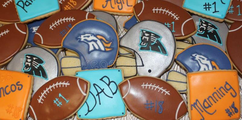 Dienblad van superbowl 50 koekjes stock foto's