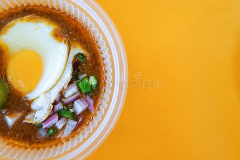 Diende het speciaal gemaakte geroosterde brood met boonsaus met ei, populair in Staat van Johor in Maleisië Genoemd geworden 'kac royalty-vrije stock fotografie