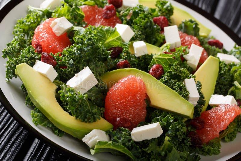 Dienende salade van boerenkool, avocado, grapefruit, feta en droog Amerikaanse veenbessenclose-up op een plaat horizontaal royalty-vrije stock foto