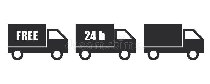 Dienst van de het pictogram de vrije en snelle levering van de leveringsbestelwagen stock illustratie