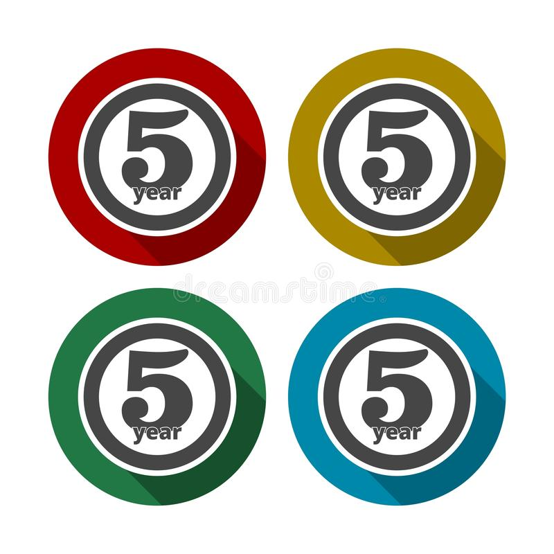 5 Dienstjahre, 5 Jahre, 5 Jahre feiernd, 5. Jahrestag - Satz lizenzfreie abbildung