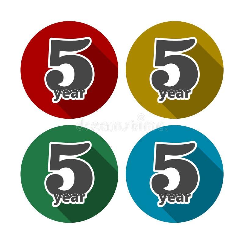 5 Dienstjahre, 5 Jahre, 5 Jahre feiernd, 5. Jahrestag - Satz stock abbildung