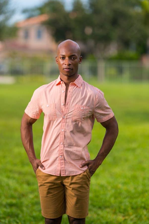 Dient de portret knappe Zwarte mens met zakken in Het dragen van een helder roze overhemd die camera bekijken stock fotografie