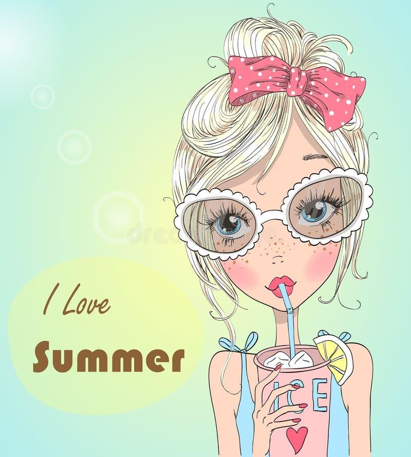 Dient het hand getrokken mooie leuke meisje in zonnebril met koude cocktail in van hem de achtergrond met woorden I de liefde inz royalty-vrije illustratie