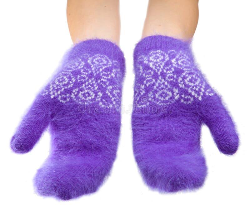 Dient pluizige lilac vuisthandschoenen op een witte achtergrond in royalty-vrije stock foto