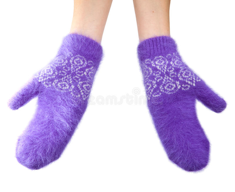 Dient pluizige lilac vuisthandschoenen op een witte achtergrond in royalty-vrije stock afbeeldingen