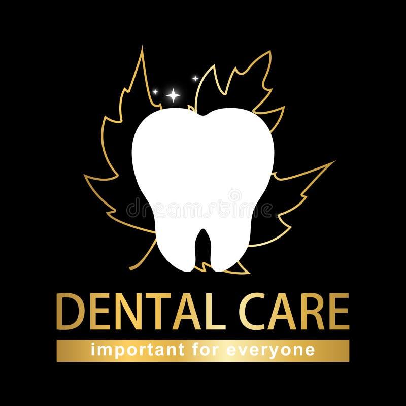 Diente blanco del cuidado dental en fondo negro ilustración del vector