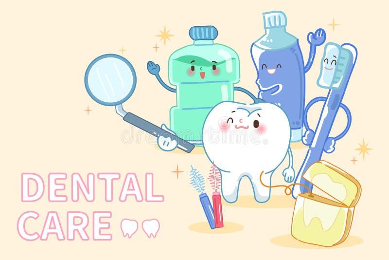 Diente con cuidado dental libre illustration