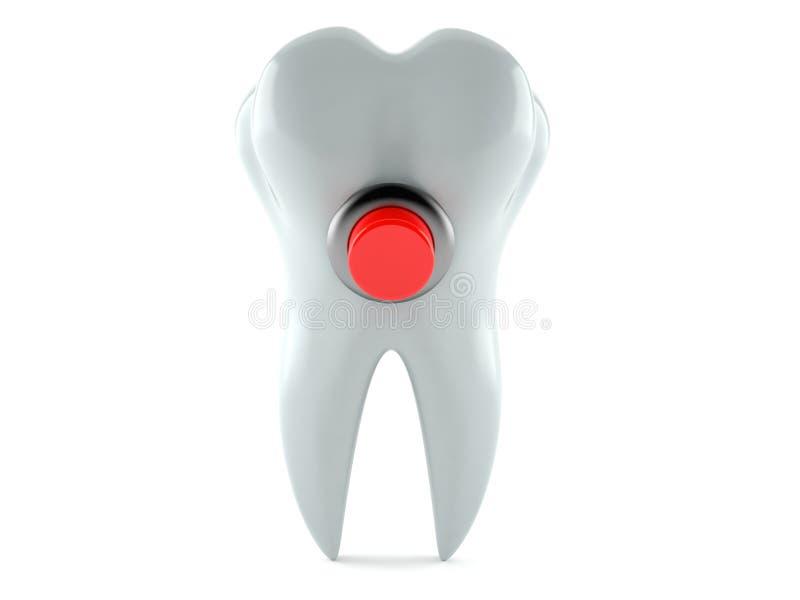 Diente con el botón rojo stock de ilustración