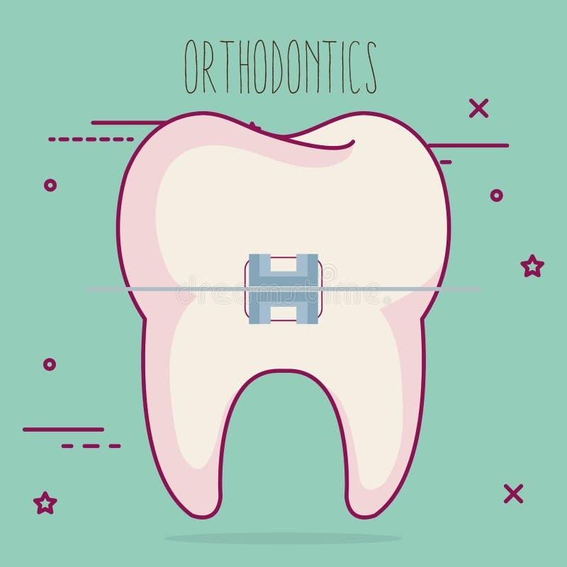 Diente con el icono del cuidado dental de la ortodoncia stock de ilustración
