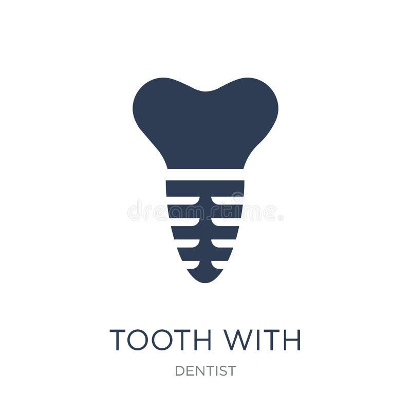 diente con el icono metálico de la raíz Diente plano de moda del vector con encontrado stock de ilustración
