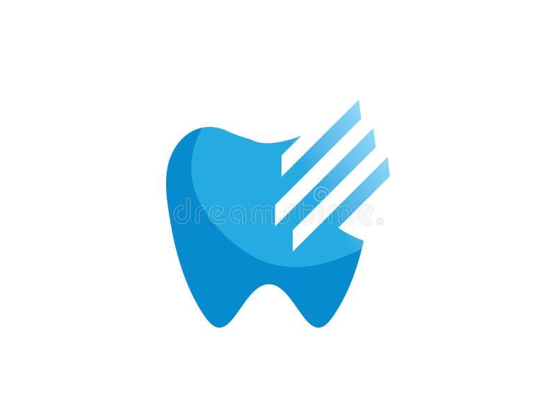 Diente con las líneas alambre dental de los efectos para ortodóntico para el ejemplo del diseño del logotipo ilustración del vector