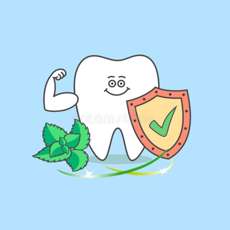 Diente con una marca de verificación, una menta y músculos Icono del cuidado dental Diente de la historieta libre illustration