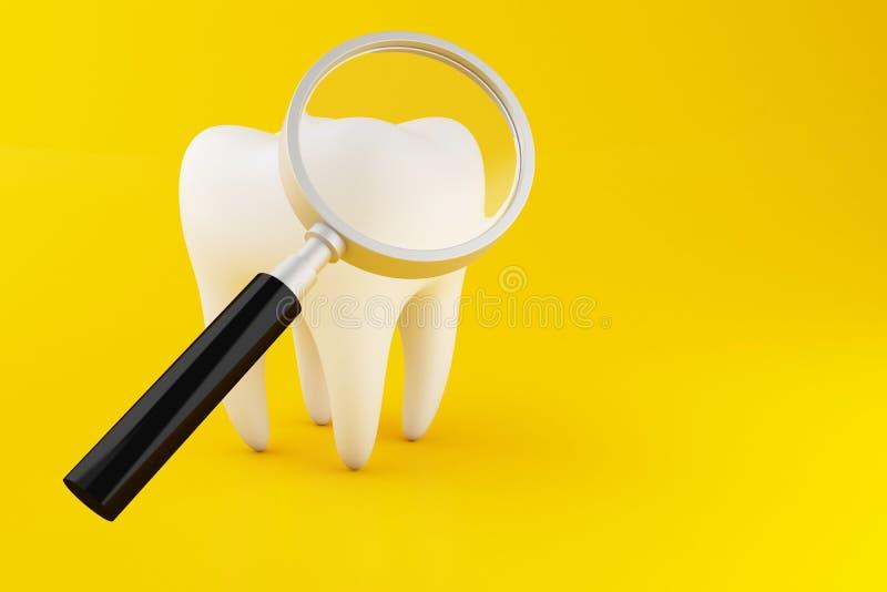 diente 3d con la lupa ilustración del vector