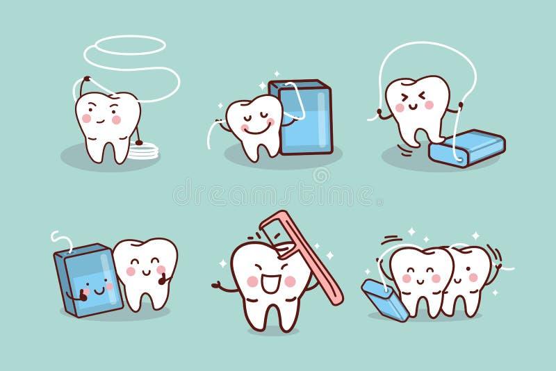 Diente de la historieta con seda dental ilustración del vector