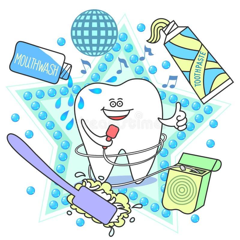 Diente de la historieta con un cepillo de dientes, una crema dental, una seda y un enjuague ilustración del vector