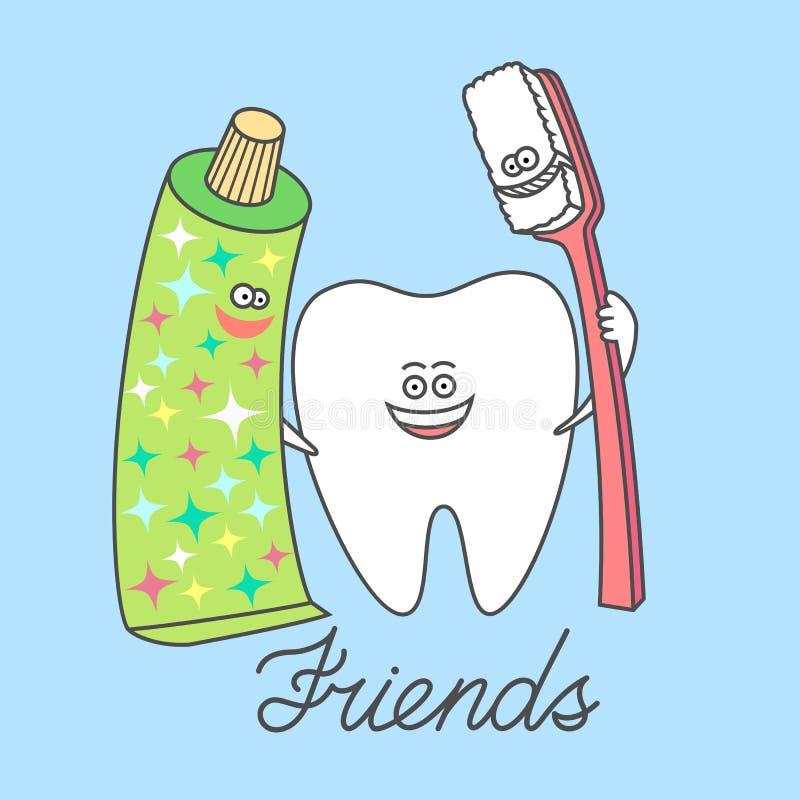 Diente de la historieta con una crema dental y un cepillo de dientes, mejores amigos Dientes que aplican con brocha stock de ilustración