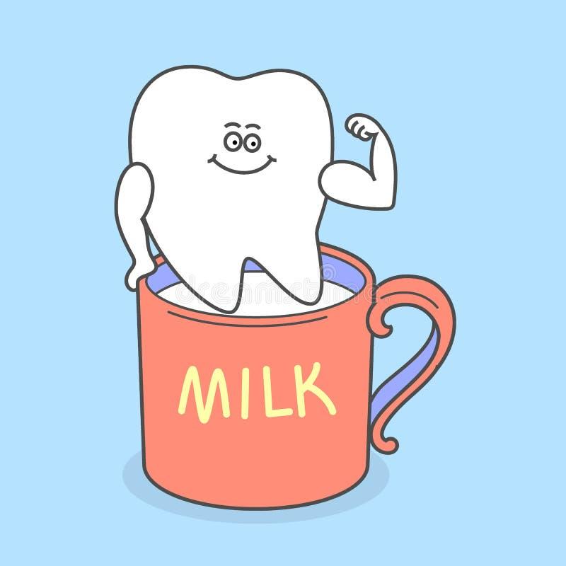 Diente de la historieta con una taza de leche stock de ilustración