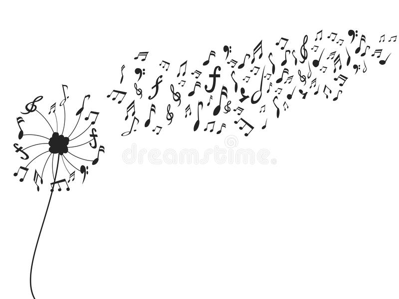 Diente de león con las notas de la música libre illustration