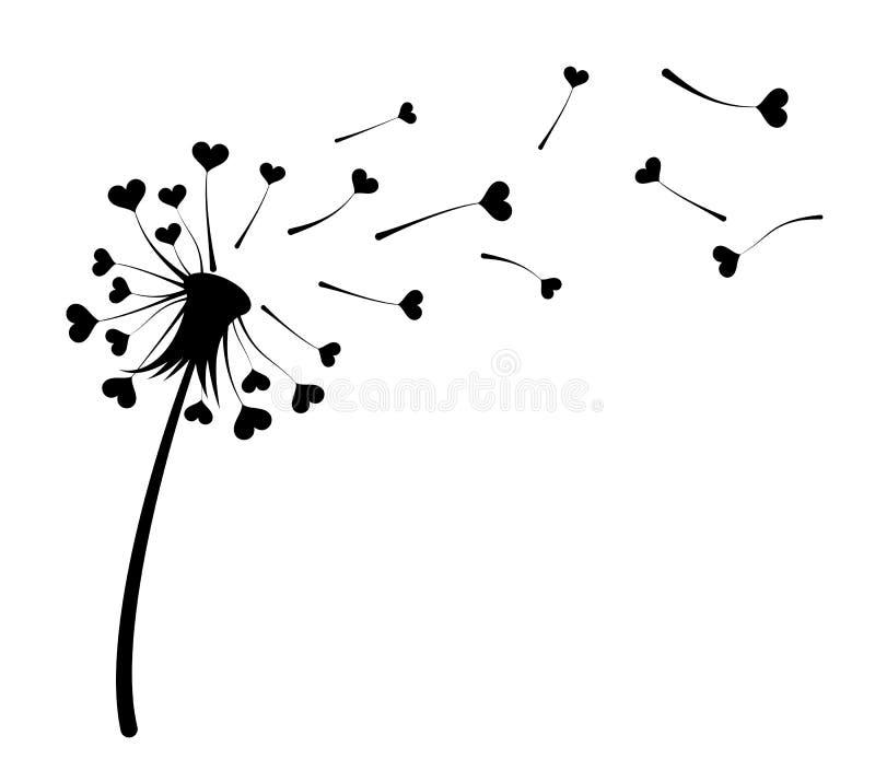 Diente de león con los corazones stock de ilustración