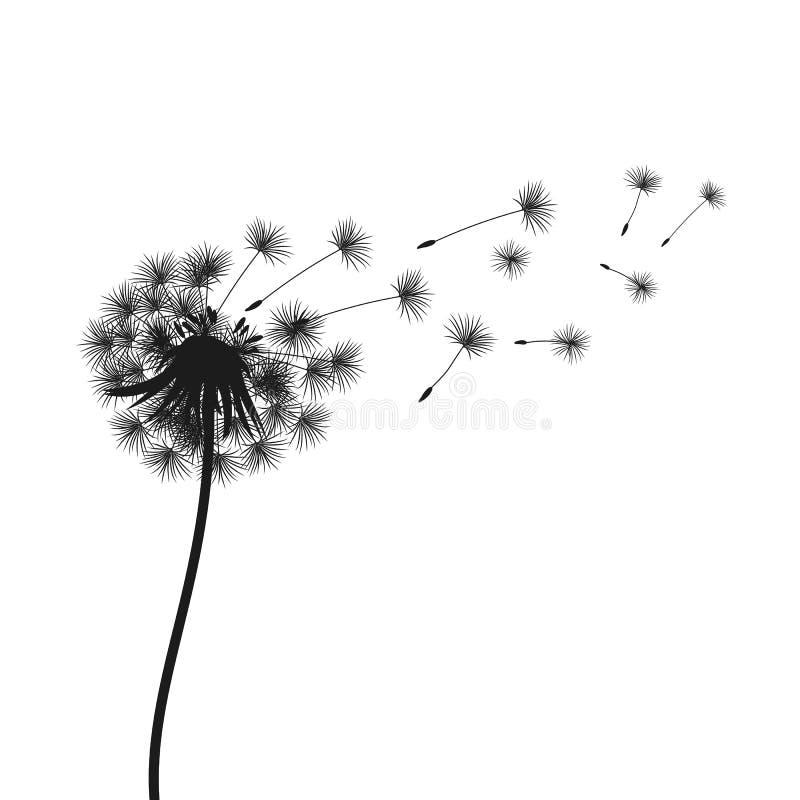 Diente de le?n negro abstracto, semillas del vuelo del diente de le?n - para la acci?n libre illustration