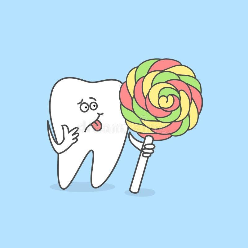 Diente del artoon del ¡de Ð Concepto del cuidado dental stock de ilustración