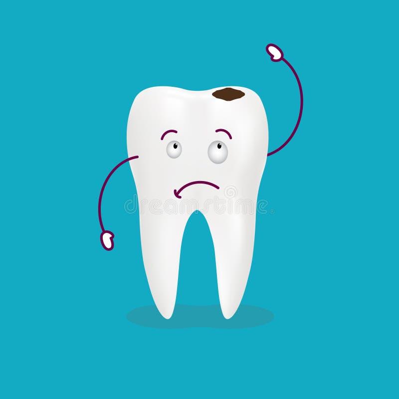 Diente del enfermo de la historieta Decaiga y destruya el diente Diente gritador lindo aislado en un fondo Ilustración del vector stock de ilustración