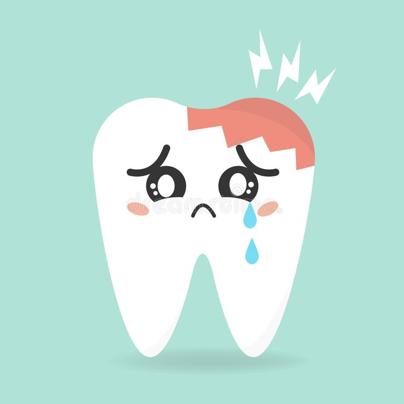 Diente del enfermo de la historieta del vector Decaiga y destruya el diente stock de ilustración