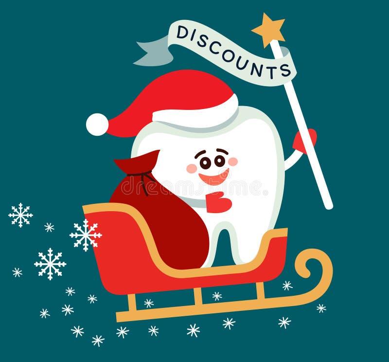 Diente en el trineo de Papá Noel con un palillo y una cinta ilustración del vector