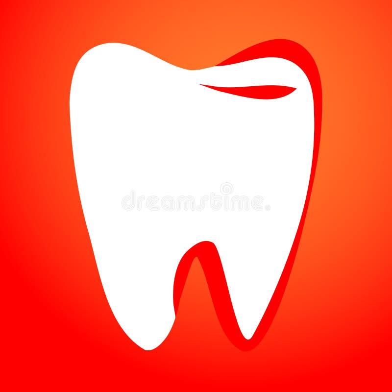 Diente en un fondo rojo, elemento del diseño de la plantilla, ejemplo del vector libre illustration