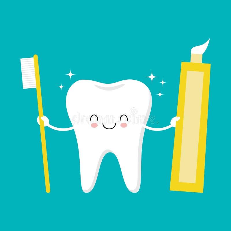 Diente que sostiene la crema dental y el cepillo de dientes Carácter sonriente de la historieta divertida linda Ejemplo de Kawaii libre illustration