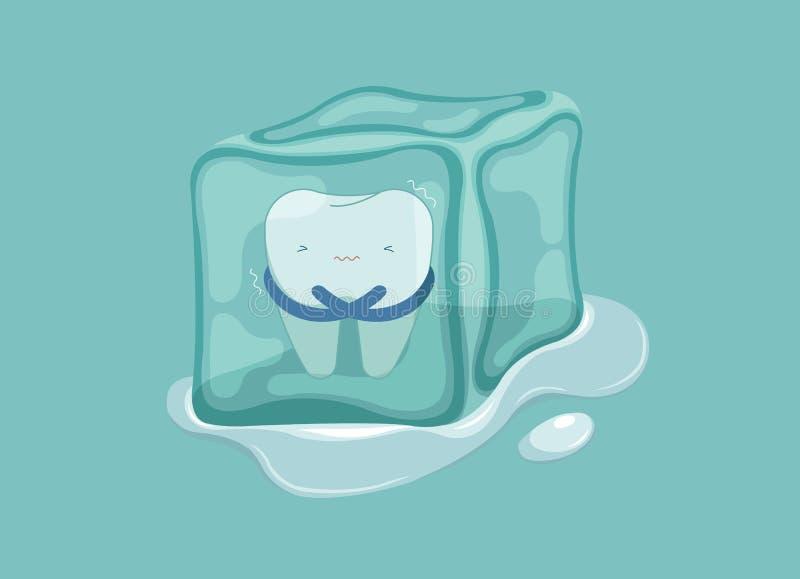 Diente sensible con el hielo, concepto dental libre illustration