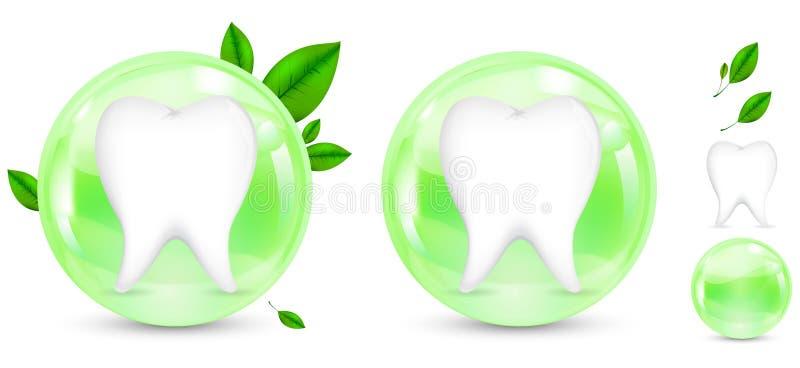 Diente verde de la protección de la hierba ilustración del vector