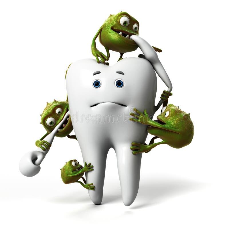 Diente y bacterias stock de ilustración