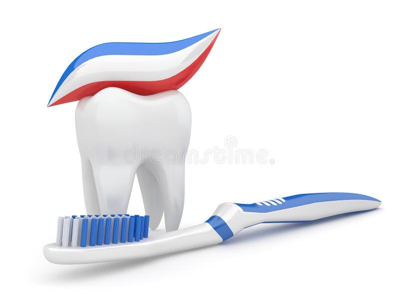 Diente y cepillo de dientes. 3d stock de ilustración