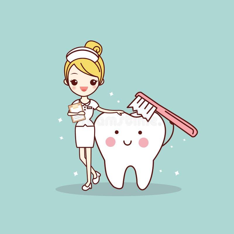 Diente y enfermera con el cepillo de dientes libre illustration