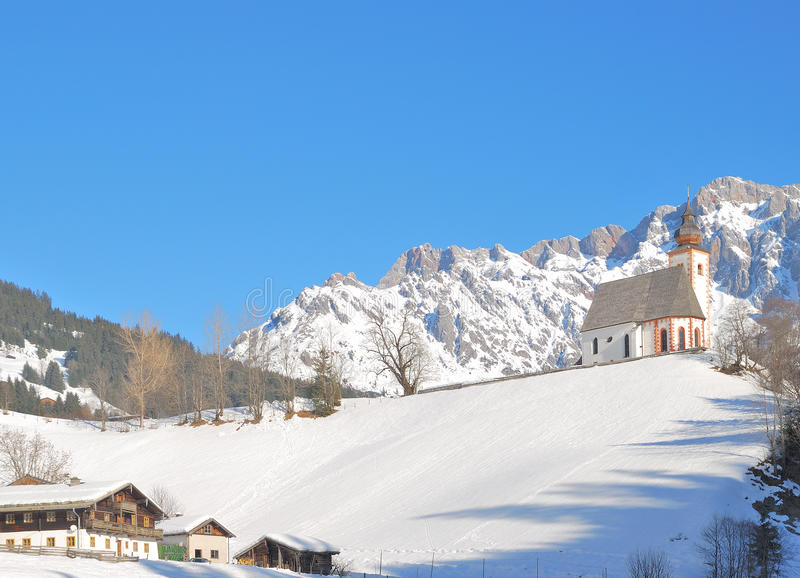 Dienten f.m. Hochkoenig, Salzburger land, Österrike royaltyfria foton