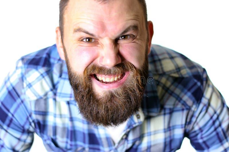 Dientes barbudos de la cara del hombre fotos de archivo