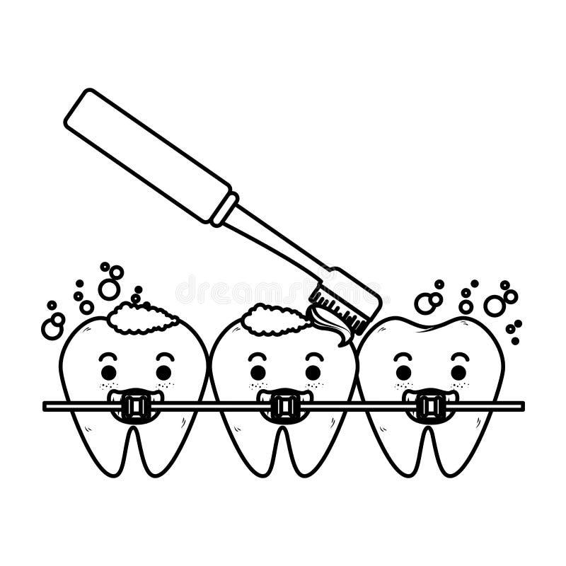 Dientes cómicos con el cepillo y los caracteres de la ortodoncia stock de ilustración
