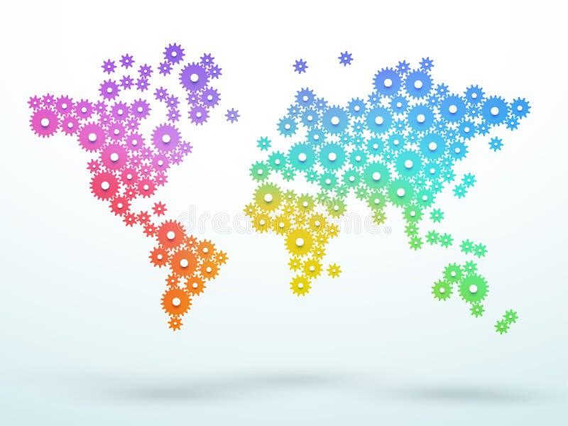 Dientes coloridos de la pendiente del mapa del mundo que ligan vector stock de ilustración