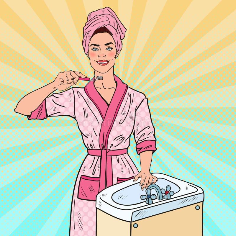 Dientes de Art Smiling Beautiful Woman Brushing del estallido en cuarto de baño Higiene dental libre illustration