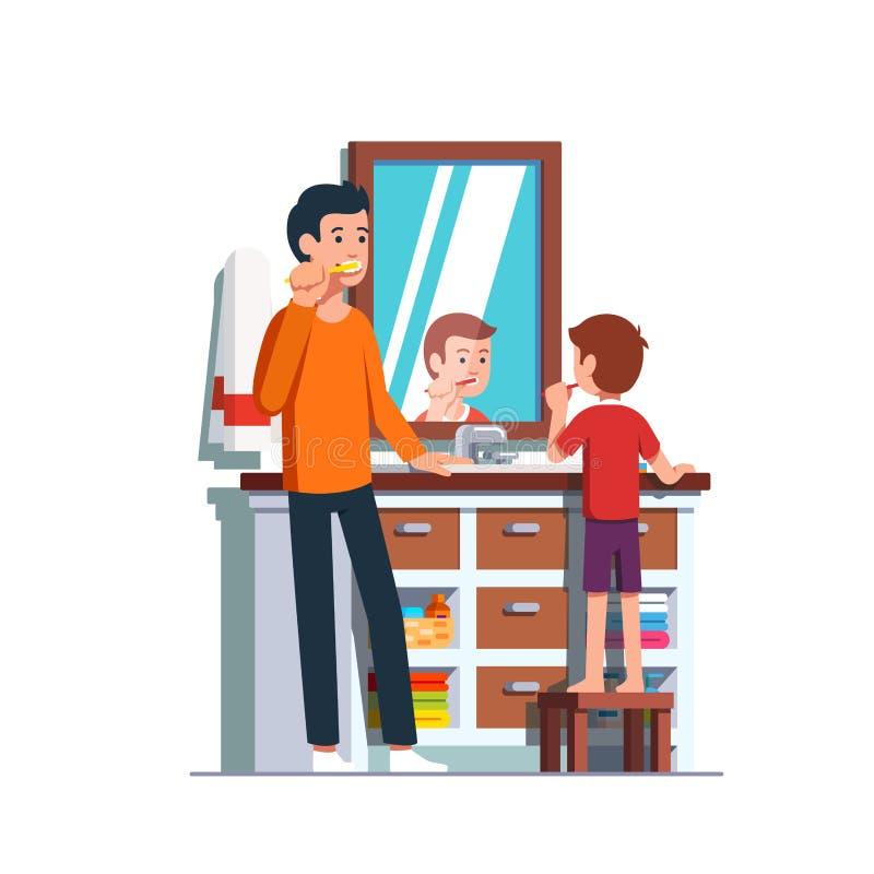 Dientes de cepillado del padre y del hijo junto en cuarto de baño libre illustration