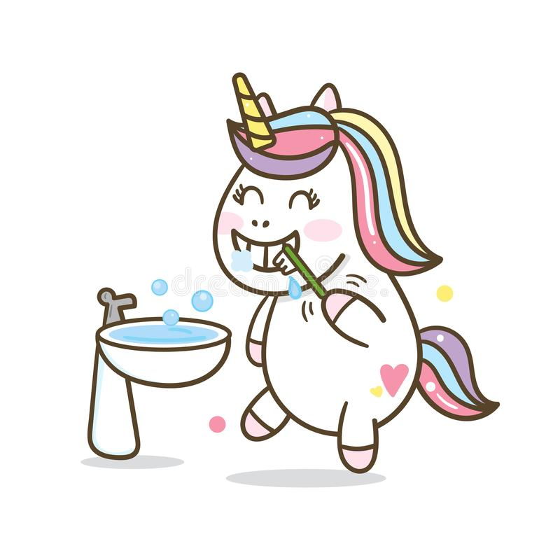 Dientes de cepillado historieta, vector del cepillo de dientes, dientes de cepillado, historieta del unicornio, libre illustration