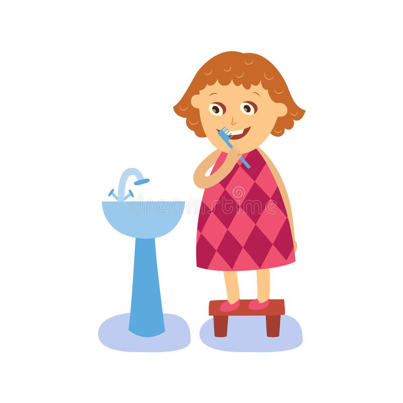 Dientes de cepillado de la muchacha plana del vector en el lavabo ilustración del vector
