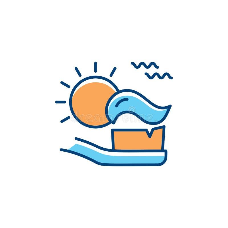 Dientes de cepillado mañana, cepillo de dientes con crema dental e icono del sol Línea fina iconos del arte, vector del cuidado d ilustración del vector