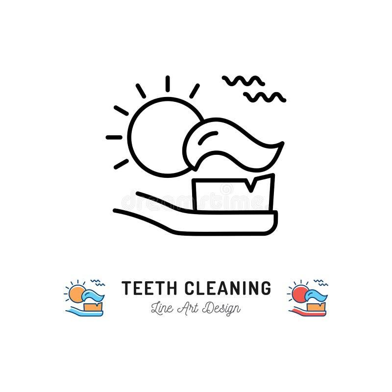 Dientes de cepillado mañana, cepillo de dientes con crema dental e icono del sol Línea fina iconos, ejemplo del cuidado dental de libre illustration