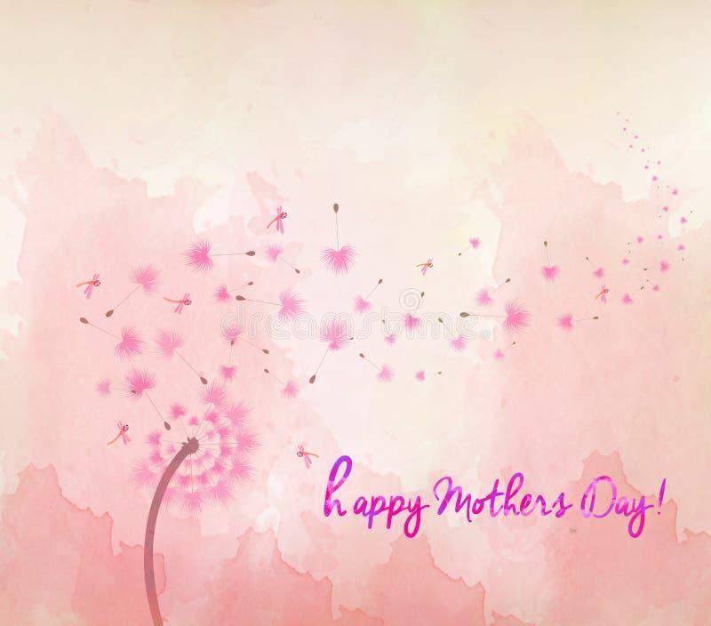 dientes de león del flor de la acuarela Día de madres ilustración del vector